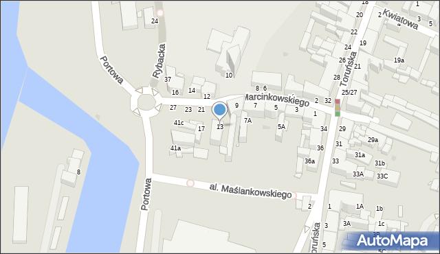 Grudziądz, Marcinkowskiego, 13, mapa Grudziądza