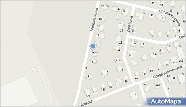 Grudziądz, Margaretkowa, 10, mapa Grudziądza