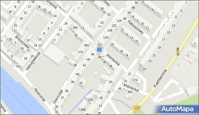 Kołobrzeg, Mariacka, 34, mapa Kołobrzegu