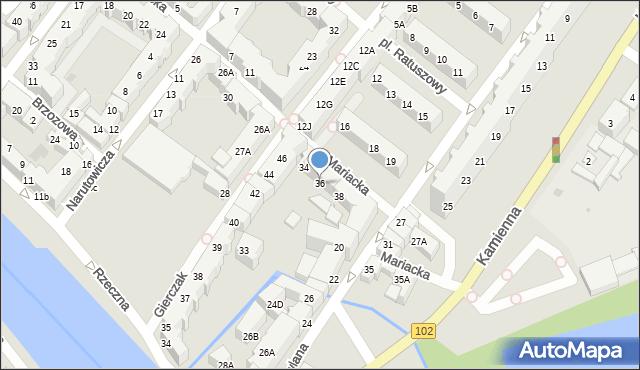 Kołobrzeg, Mariacka, 36, mapa Kołobrzegu