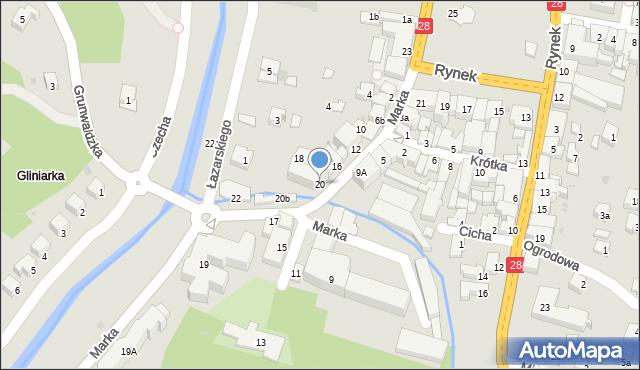 Limanowa, Marka Józefa, 20, mapa Limanowa