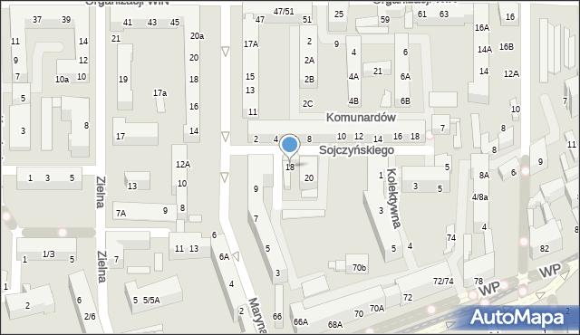 Łódź, Marysińska, 18, mapa Łodzi