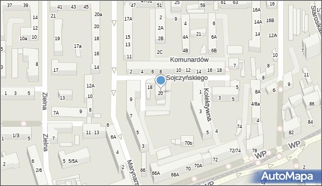 Łódź, Marysińska, 20, mapa Łodzi