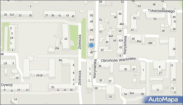 Łódź, Marynarska, 40, mapa Łodzi