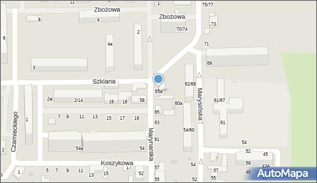Łódź, Marynarska, 65a, mapa Łodzi