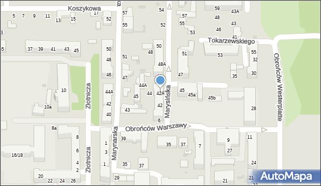 Łódź, Marysińska, 42A, mapa Łodzi