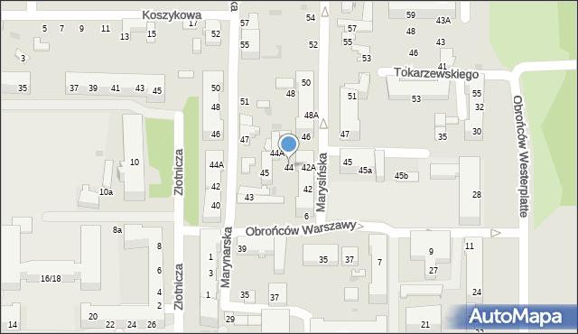 Łódź, Marysińska, 44, mapa Łodzi
