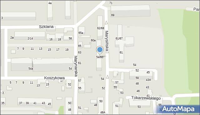 Łódź, Marysińska, 54/60, mapa Łodzi