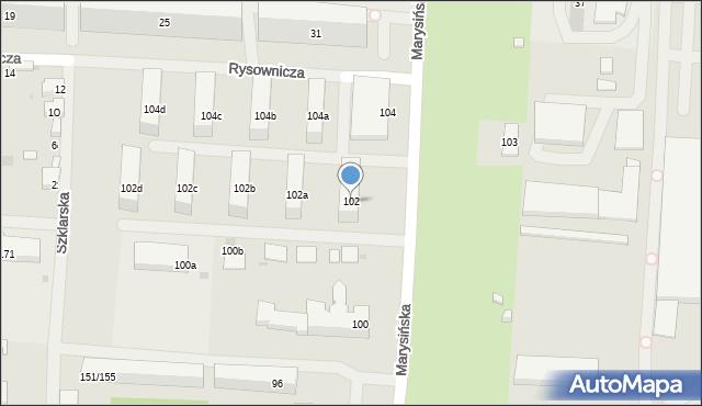 Łódź, Marysińska, 102, mapa Łodzi