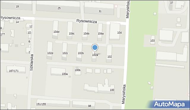 Łódź, Marysińska, 102a, mapa Łodzi