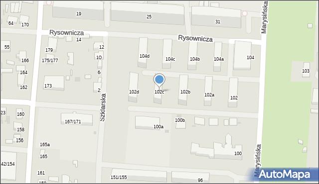 Łódź, Marysińska, 102c, mapa Łodzi