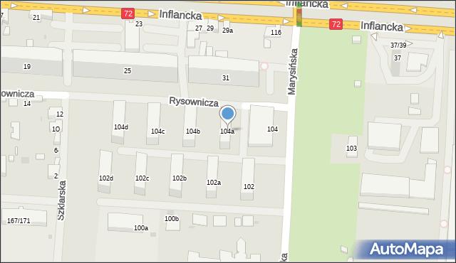 Łódź, Marysińska, 104a, mapa Łodzi