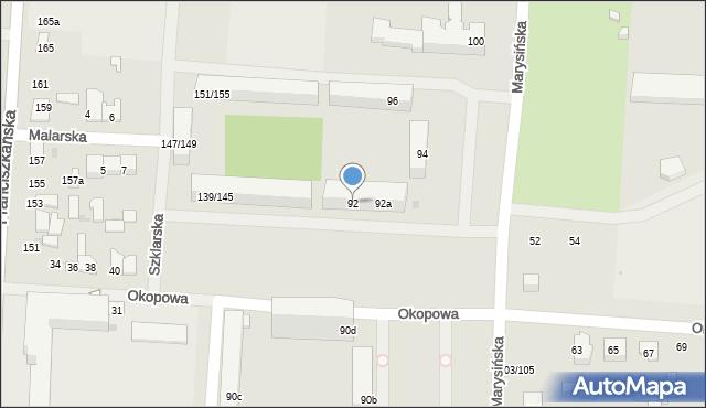 Łódź, Marysińska, 92, mapa Łodzi