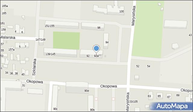 Łódź, Marysińska, 92a, mapa Łodzi
