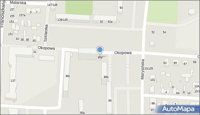 Łódź, Marysińska, 90d, mapa Łodzi