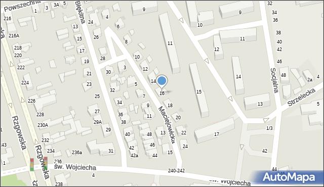Łódź, Maciejowicka, 16, mapa Łodzi