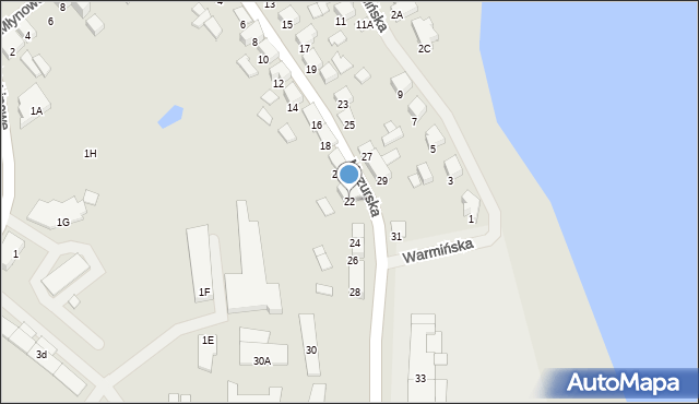 Olecko, Mazurska, 22, mapa Olecko
