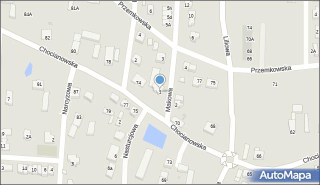 Polkowice, Makowa, 1, mapa Polkowice