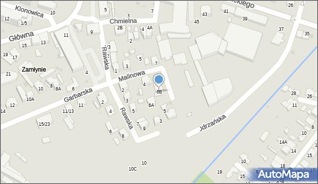Radom, Malinowa, 6B, mapa Radomia
