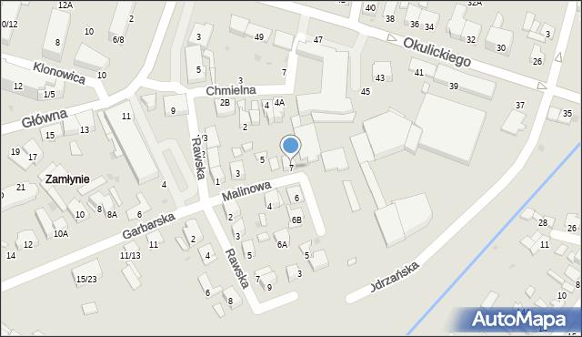 Radom, Malinowa, 7, mapa Radomia
