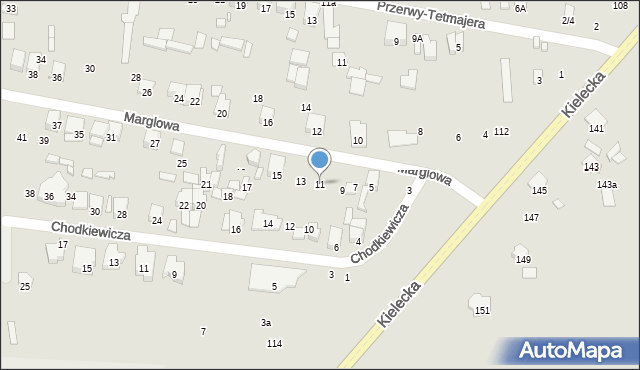 Radom, Marglowa, 11, mapa Radomia
