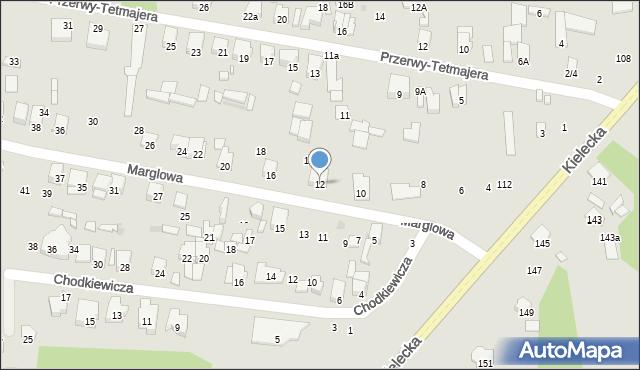 Radom, Marglowa, 12, mapa Radomia