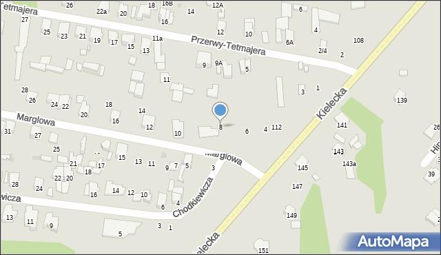 Radom, Marglowa, 8, mapa Radomia