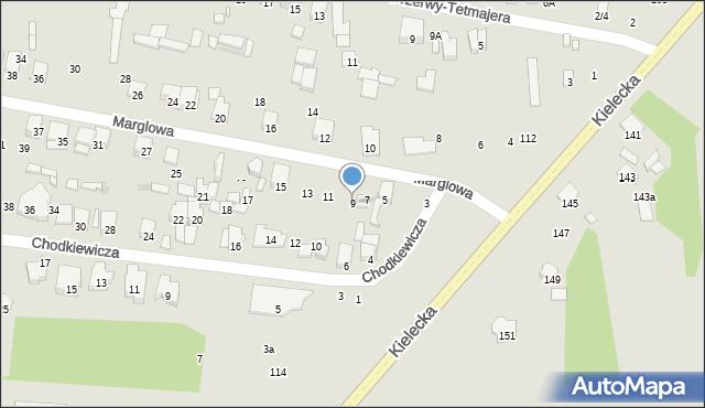 Radom, Marglowa, 9, mapa Radomia