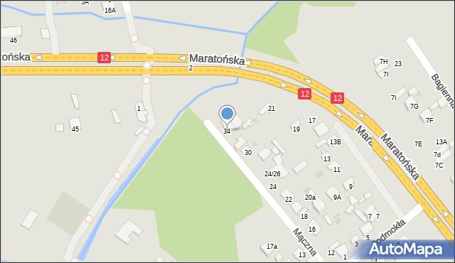 Radom, Mączna, 34, mapa Radomia