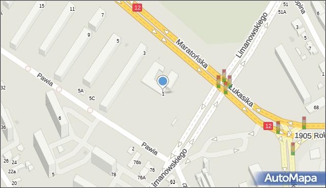 Radom, Maratońska, 1, mapa Radomia