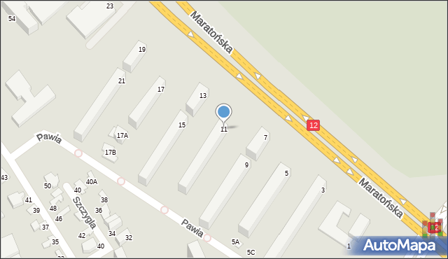 Radom, Maratońska, 11, mapa Radomia