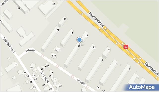 Radom, Maratońska, 15, mapa Radomia