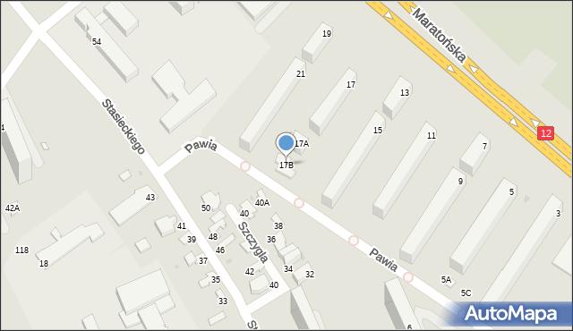 Radom, Maratońska, 17B, mapa Radomia