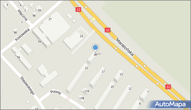 Radom, Maratońska, 19, mapa Radomia