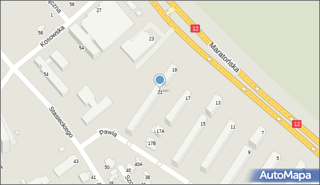 Radom, Maratońska, 21, mapa Radomia