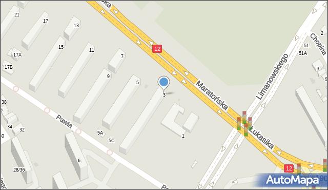 Radom, Maratońska, 3, mapa Radomia