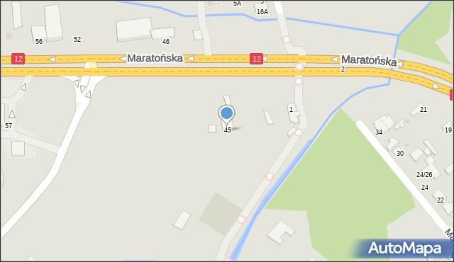 Radom, Maratońska, 45, mapa Radomia
