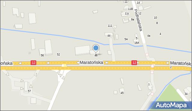 Radom, Maratońska, 46, mapa Radomia