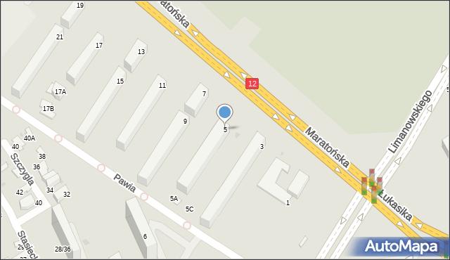 Radom, Maratońska, 5, mapa Radomia