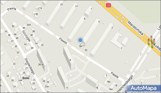 Radom, Maratońska, 5A, mapa Radomia