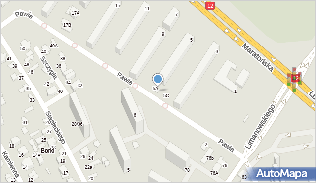 Radom, Maratońska, 5B, mapa Radomia