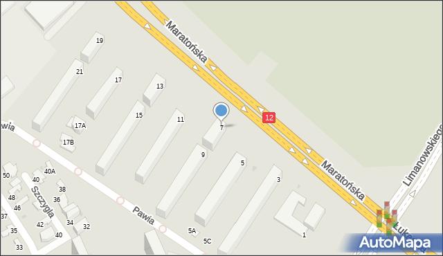 Radom, Maratońska, 7, mapa Radomia