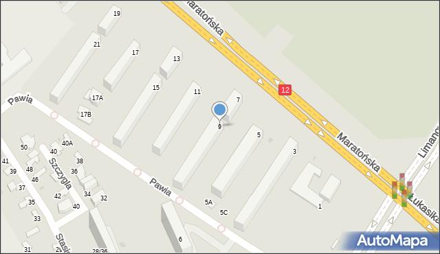 Radom, Maratońska, 9, mapa Radomia