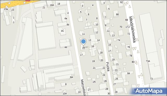 Radom, Marywilska, 15, mapa Radomia