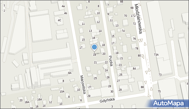 Radom, Marywilska, 19, mapa Radomia