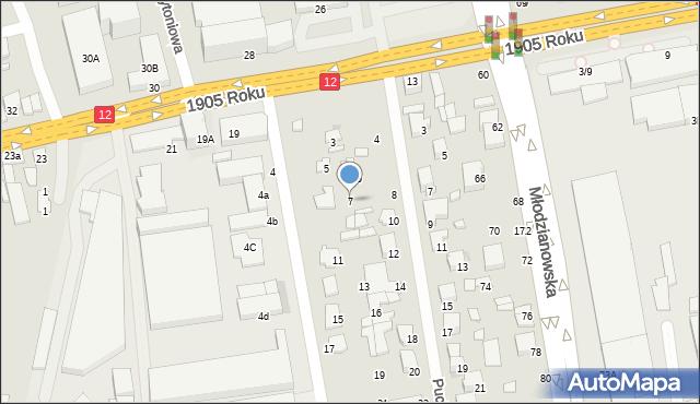 Radom, Marywilska, 7, mapa Radomia