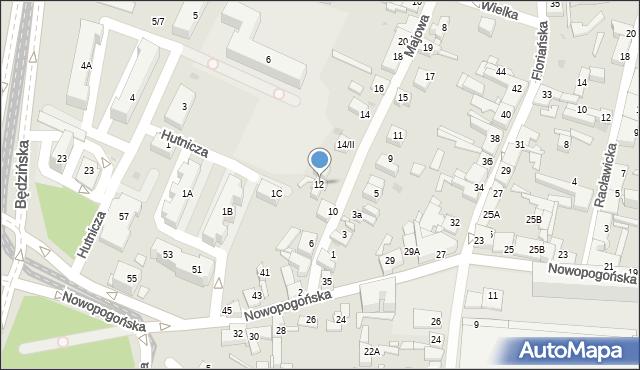 Sosnowiec, Majowa, 12, mapa Sosnowca