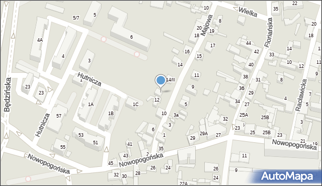 Sosnowiec, Majowa, 14/I, mapa Sosnowca