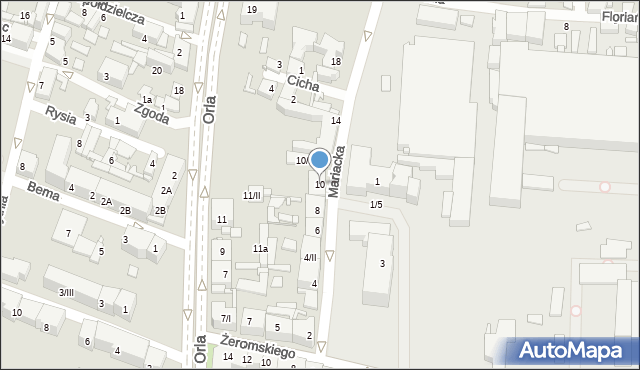 Sosnowiec, Mariacka, 10, mapa Sosnowca