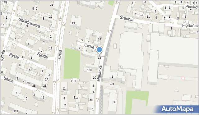 Sosnowiec, Mariacka, 14, mapa Sosnowca